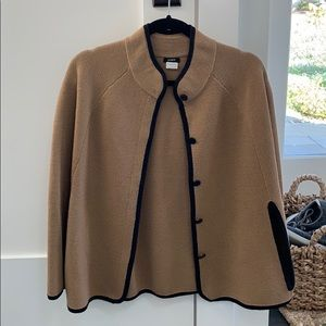 J Crew Camel and Black Knit Cape